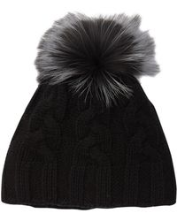 f793d4822 Cashmere Cable Knit Beanie With Genuine Dyed Fox Fur Pompom - Black