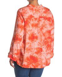 Ruby Rd. Tie Dye Pintuck Pleat Shirt - Orange