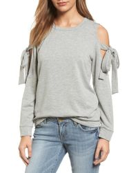 Pleione Cold Shoulder Tie Sleeve Sweatshirt (regular & Petite) - Gray