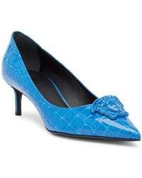 Versace - Croc Embossed Medusa Kitten Heel - Lyst