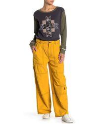 Free People Calendula Wide Leg Cargo Pants - Yellow