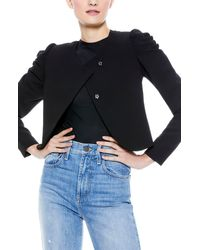 Alice + Olivia Addison Puff Sleeve Crop Jacket - Black