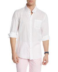 Michael's Swimwear Long Sleeve Linen Prints Solid Shirt - White