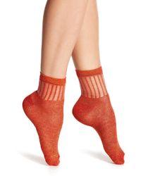 Free People Roseland Metallic Ankle Socks - Red