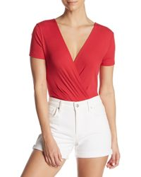 Lush Surplice Tie Back Ribbed Bodysuit - Red
