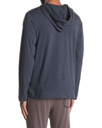 Unsimply Stitched Long Sleeve Light Weight Hooded Henley - Blue