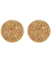 Adornia Gold Vermeil White Diamond Pave Round Stud Earrings - 1.00 Ctw - Yellow