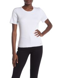 T Tahari Scallop Edge Ribbed T-shirt - White