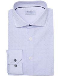 Duchamp Long Sleeve Woven Dress Shirt - Blue