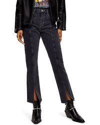 TOPSHOP High Waist Split Hem Ankle Straight Leg Jeans - Black
