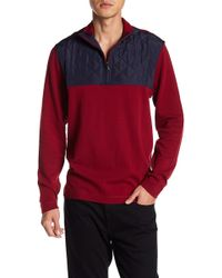 Bugatchi - Mixed Media Zip-up Pullover - Lyst