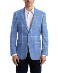 Hart Schaffner Marx Light Blue Windowpane Two Button Notch Lapel New York Fit Suit Separates Jacket