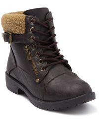 Wanted Combat Boot With Faux Shearling Trim - Brown