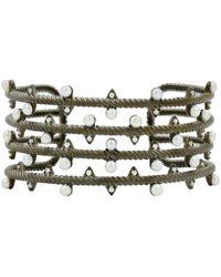 Freida Rothman Sterling Silver Cz Textured 3mm Freshwater Pearl Wide Cuff Bracelet - Black