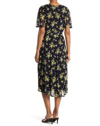 Sandra Darren Flutter Sleeve Chiffon Floral Midi Dress - Multicolour