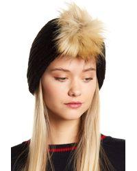 MICHAEL Michael Kors Faux Fur Pom Cable Knit Neck Warmer - Black