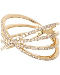 EF Collection 14k Yellow Gold Pave Diamond Sunburst Ring - Size 3 - 0.04 Ctw - Metallic