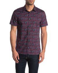 Perry Ellis Short Sleeve Slim Fit Stretch Button Down Shirt - Purple
