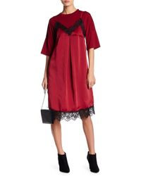 English Factory Two-fer Jersey Knit Satin Dress - Red
