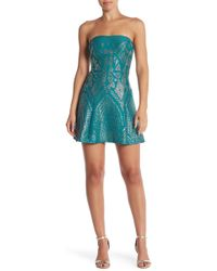 Jump - Strapless Glitter Party Dress - Lyst