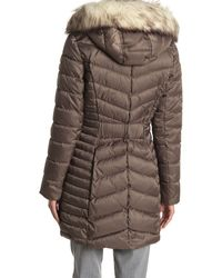 Laundry by Shelli Segal Double Layered Faux Fur Coat - Brown