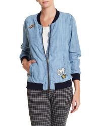 Skies Are Blue - Washed Denim Bomber Jacket - Lyst