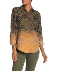 Love, Fire Ombre Plaid Flannel Button Front Shirt - Green
