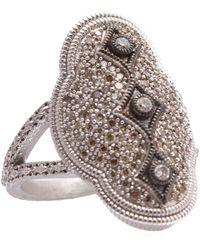 Armenta New World Sterling Silver Diamond Scalloped Crivelli Ring - Size 6.5 - 0.58 Ctw - Metallic