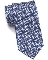 1901 Fischer Geo Silk Tie - Blue