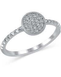 Bony Levy - 18k White Gold Pave Diamond Detail Circle Textured Ring - Lyst