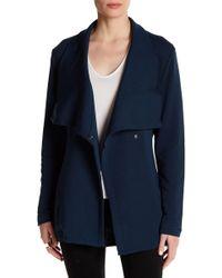 Heather by Bordeaux Long Fleece Tie Closure Jacket - Blue
