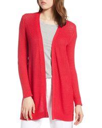 Halogen - Textured Cotton Knit Cardigan (regular & Petite) - Lyst