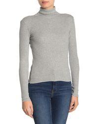 BP. Turtleneck Long Sleeve Ribbed Top - Grey