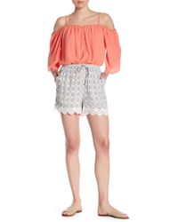 Skies Are Blue - Patterned Lace Trim Shorts - Lyst