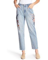 MINKPINK - Floral Embroidered Boyfriend Jeans - Lyst