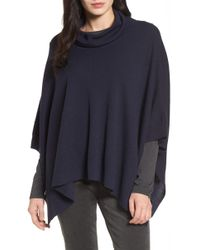 Eileen Fisher - Merino Wool Cowl Neck Poncho - Lyst