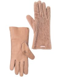 Burberry Shearling And Leather Gloves - Pink