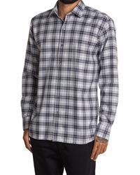 Bugatchi Shepherd's Check Woven Shirt - Gray