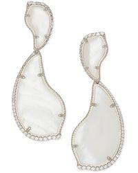 Kendra Scott Teddi Rhodium Plated Brass Ivory Mother-of-pearl Cz Teardrop Earrings - White