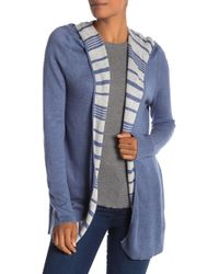 Subtle Luxury - Madison Stripe Contrast Hoodie Cardigan - Lyst