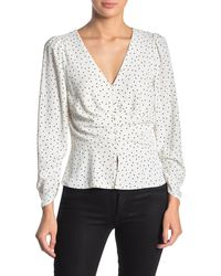 Naked Zebra Front Button Long Sleeve Ruched Blouse - White