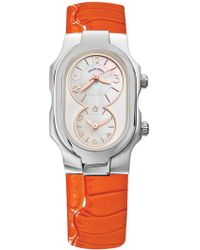 Philip Stein - Women's Small Signature Dual Time Zone Embossed Leather Watch - Lyst