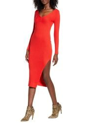 Leith Angle Rib Long Sleeve Midi Sweater Dress - Red
