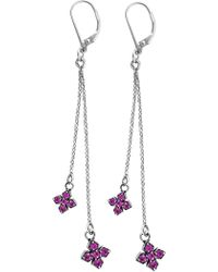 King Baby Studio - Sterling Silver Pave Pink Cz Mb Crosses Earrings - Lyst