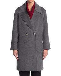 Kinross Cashmere Notch Collar Wool & Cashmere Blend Coat - Gray