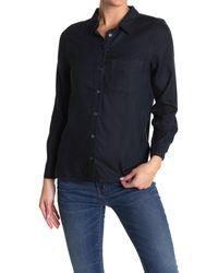Velvet Heart Bennett Long Sleeve Button Front Pocket Shirt - Blue
