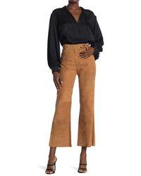 Nili Lotan Vianna Leather High Waist Flared Leg Pants - Brown