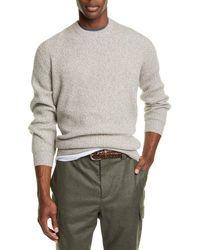 Brunello Cucinelli Melange Cashmere Crewneck Sweater - Grey