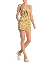 Mimi Chica Tie Front Floral Print Romper - Yellow