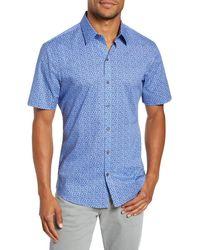 Zachary Prell Perani Regular Fit Print Short Sleeve Button-up Shirt - Blue